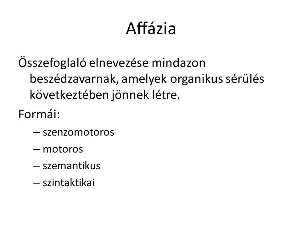 Affázia Összefoglaló elnevezése mindazon beszédzavarnak, amelyek organikus sérülés következtében jönnek létre.