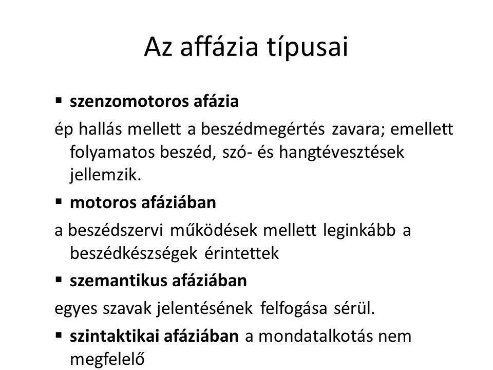 Az affázia típusai szenzomotoros afázia