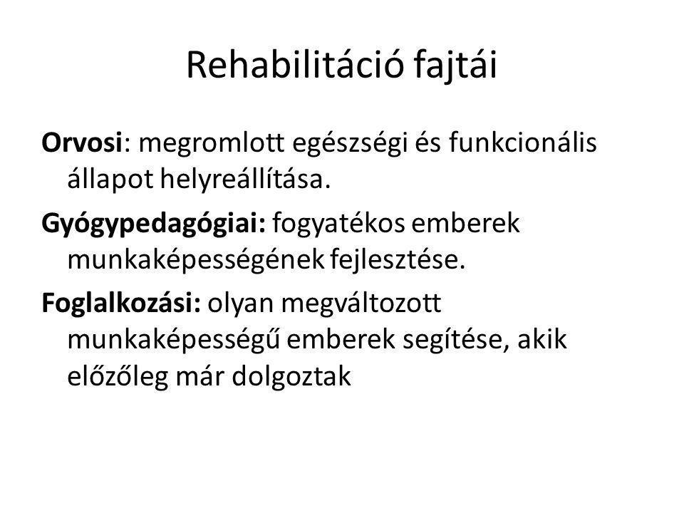 Rehabilitáció fajtái Orvosi: megromlott egészségi és funkcionális állapot helyreállítása.