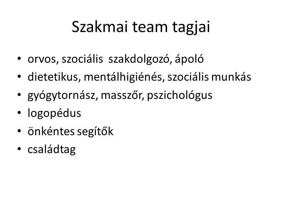 Szakmai team tagjai orvos, szociális szakdolgozó, ápoló