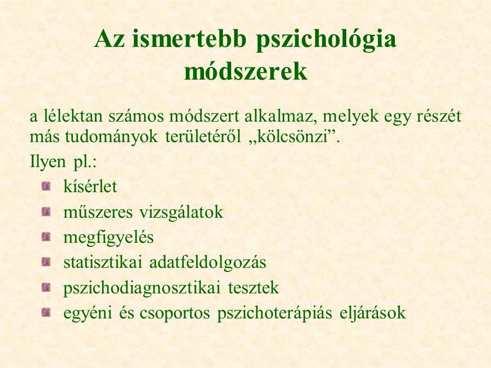 Az ismertebb pszichológia módszerek