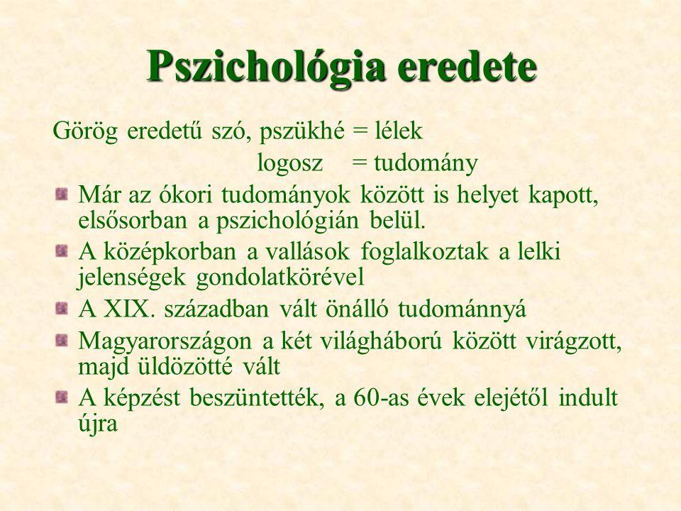 Pszichológia eredete Görög eredetű szó, pszükhé = lélek