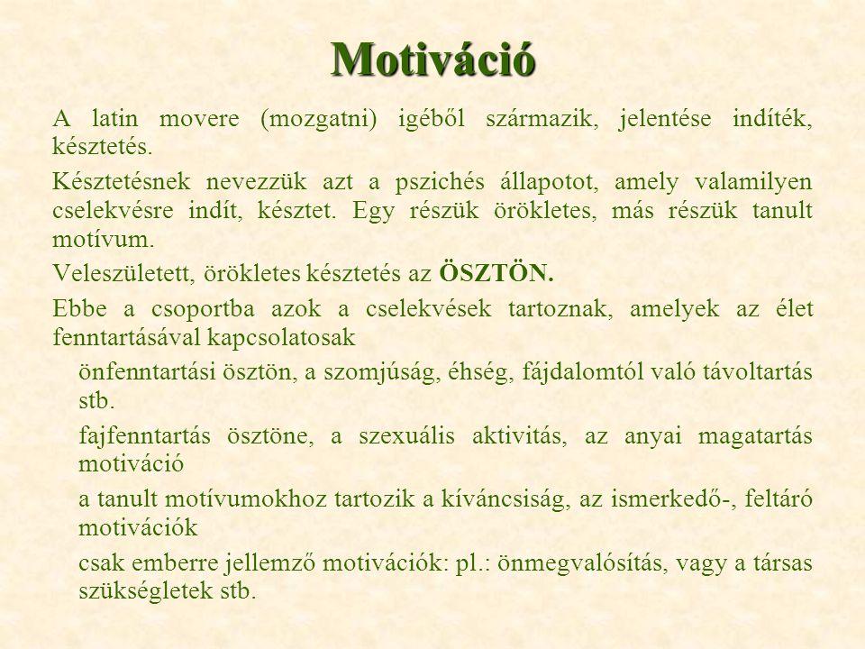 Motiváció A latin movere (mozgatni) igéből származik, jelentése indíték, késztetés.