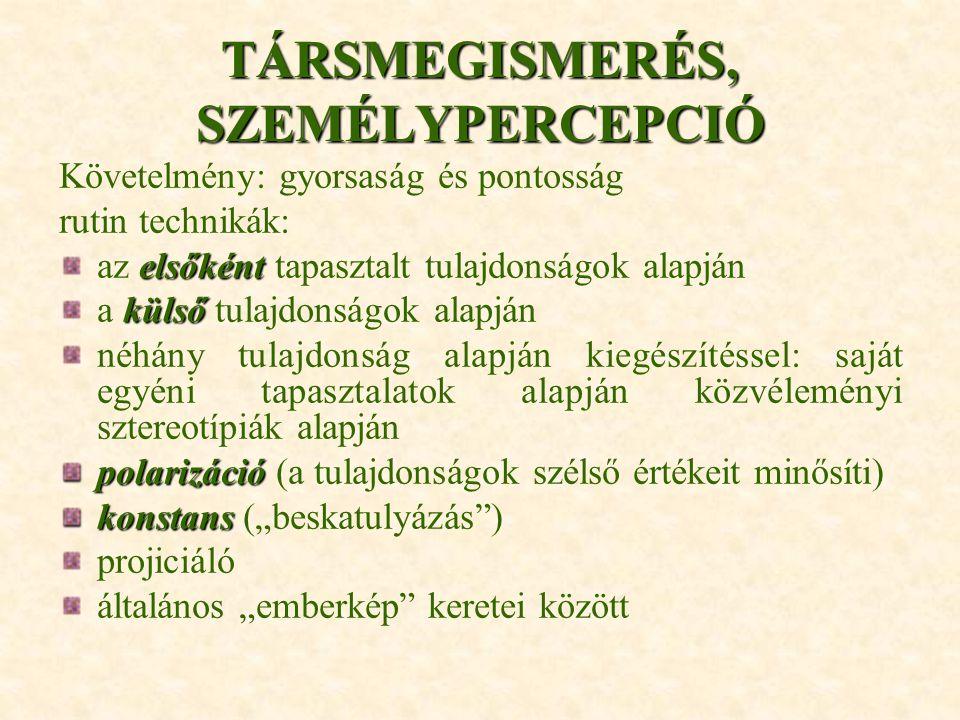 TÁRSMEGISMERÉS, SZEMÉLYPERCEPCIÓ
