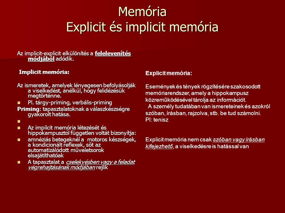 Memória Explicit és implicit memória
