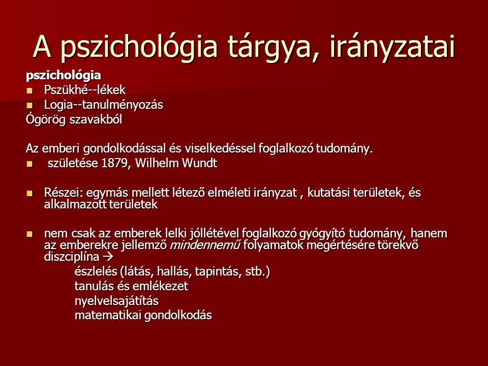 A pszichológia tárgya, irányzatai