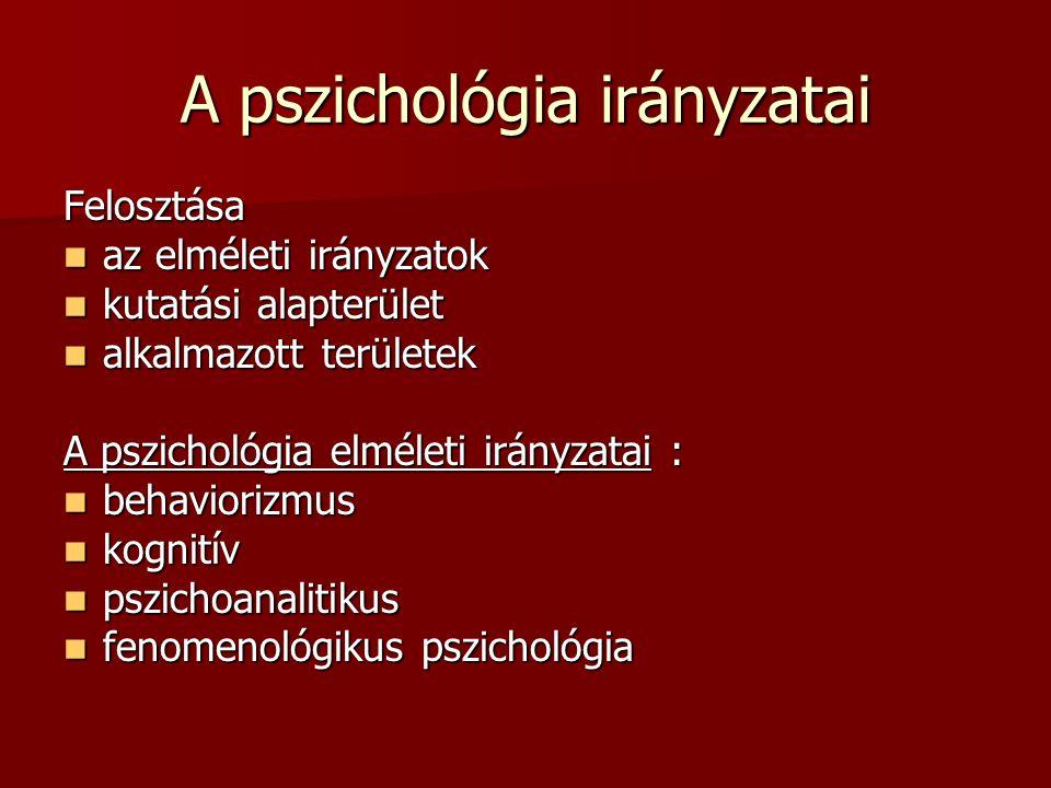 A pszichológia irányzatai