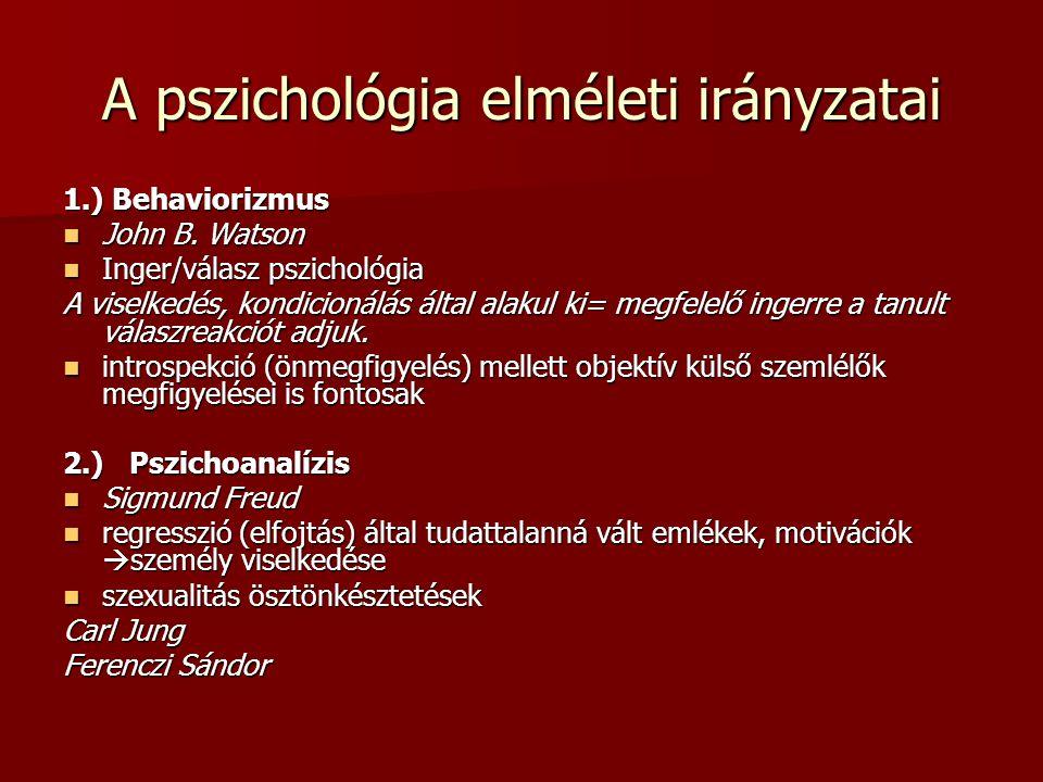 A pszichológia elméleti irányzatai