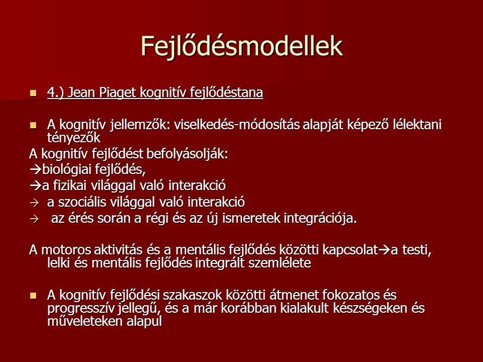 Fejlődésmodellek 4.) Jean Piaget kognitív fejlődéstana