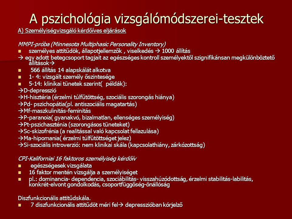 A pszichológia vizsgálómódszerei-tesztek