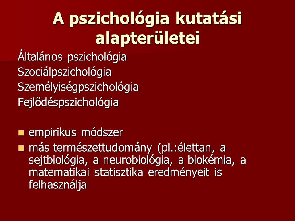 A pszichológia kutatási alapterületei