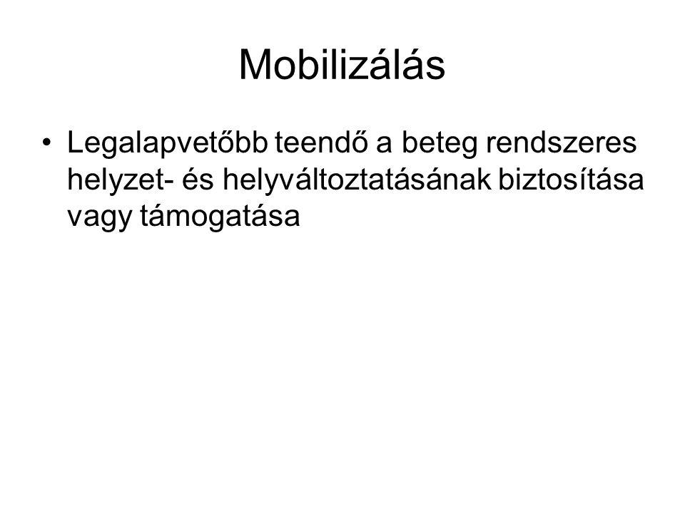 Mobilizálás Legalapvetőbb teendő a beteg rendszeres helyzet- és helyváltoztatásának biztosítása vagy támogatása.