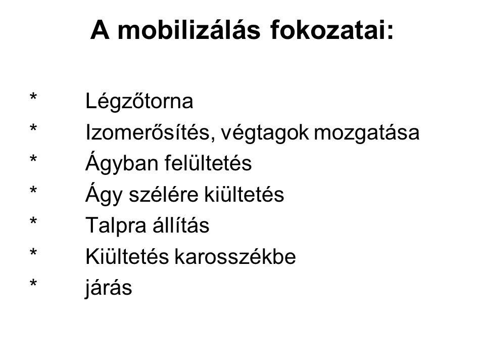 A mobilizálás fokozatai: