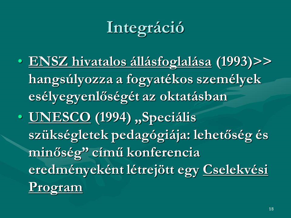 Integráció ENSZ hivatalos állásfoglalása (1993)>> hangsúlyozza a fogyatékos személyek esélyegyenlőségét az oktatásban.