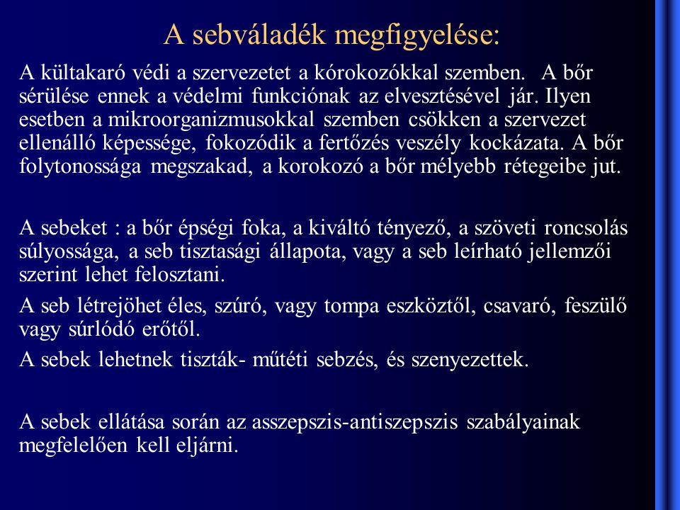 A sebváladék megfigyelése: