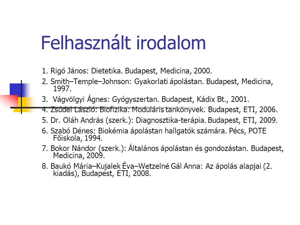 Felhasznált irodalom 1. Rigó János: Dietetika. Budapest, Medicina, 2000. 2. Smith–Temple–Johnson: Gyakorlati ápolástan. Budapest, Medicina, 1997.