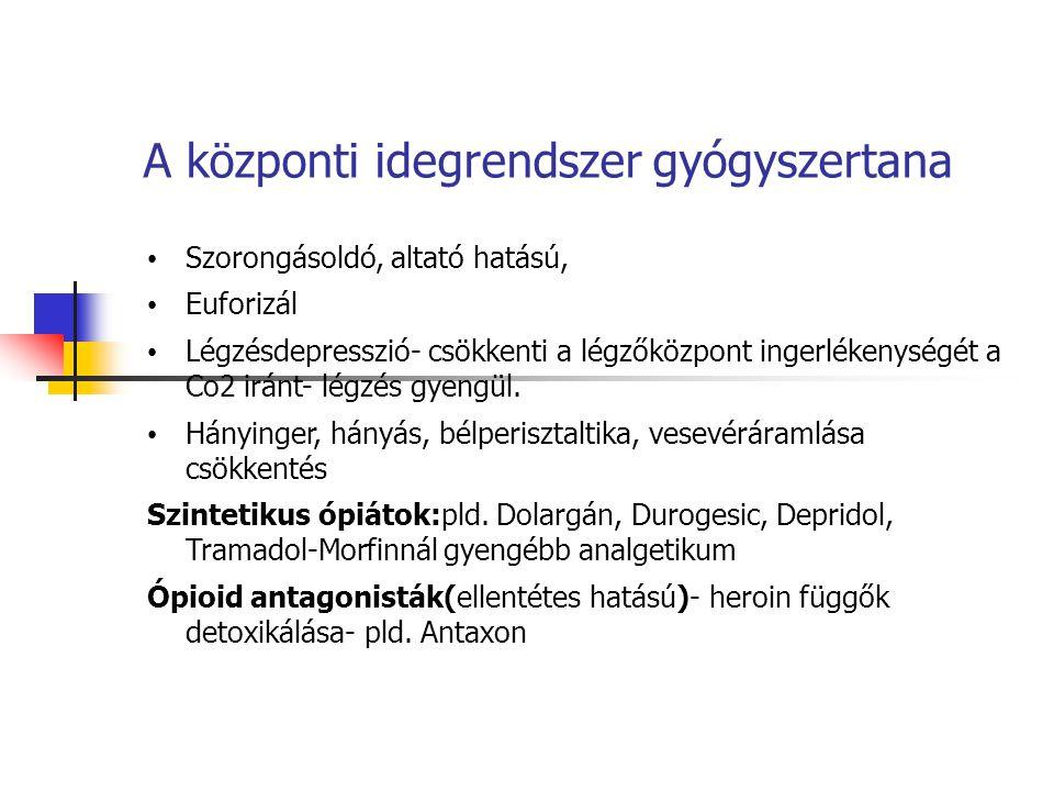 A központi idegrendszer gyógyszertana