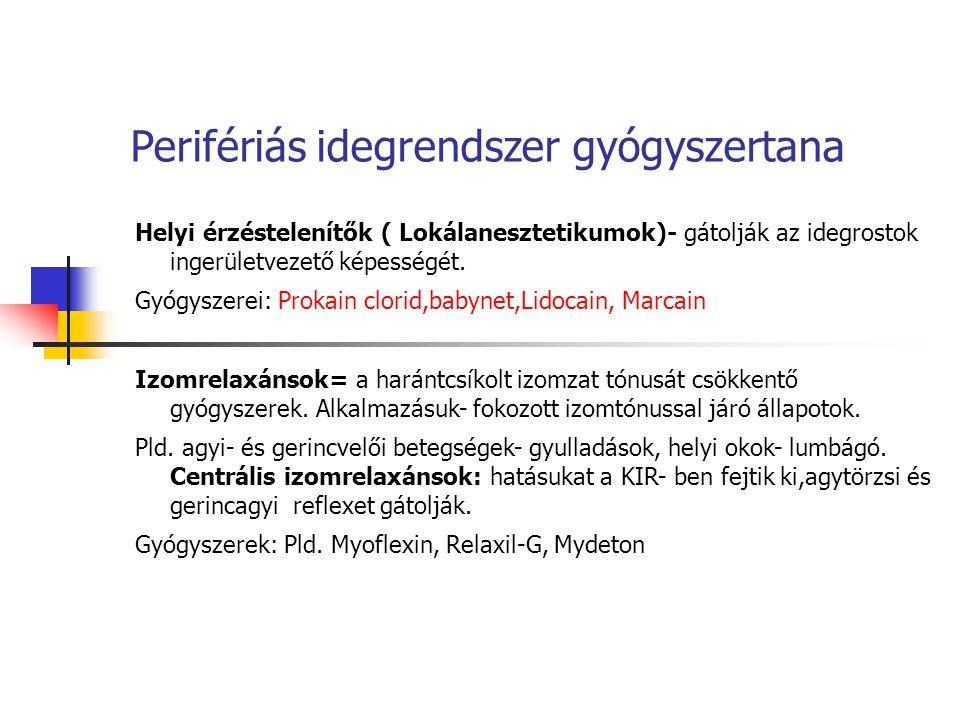 Perifériás idegrendszer gyógyszertana