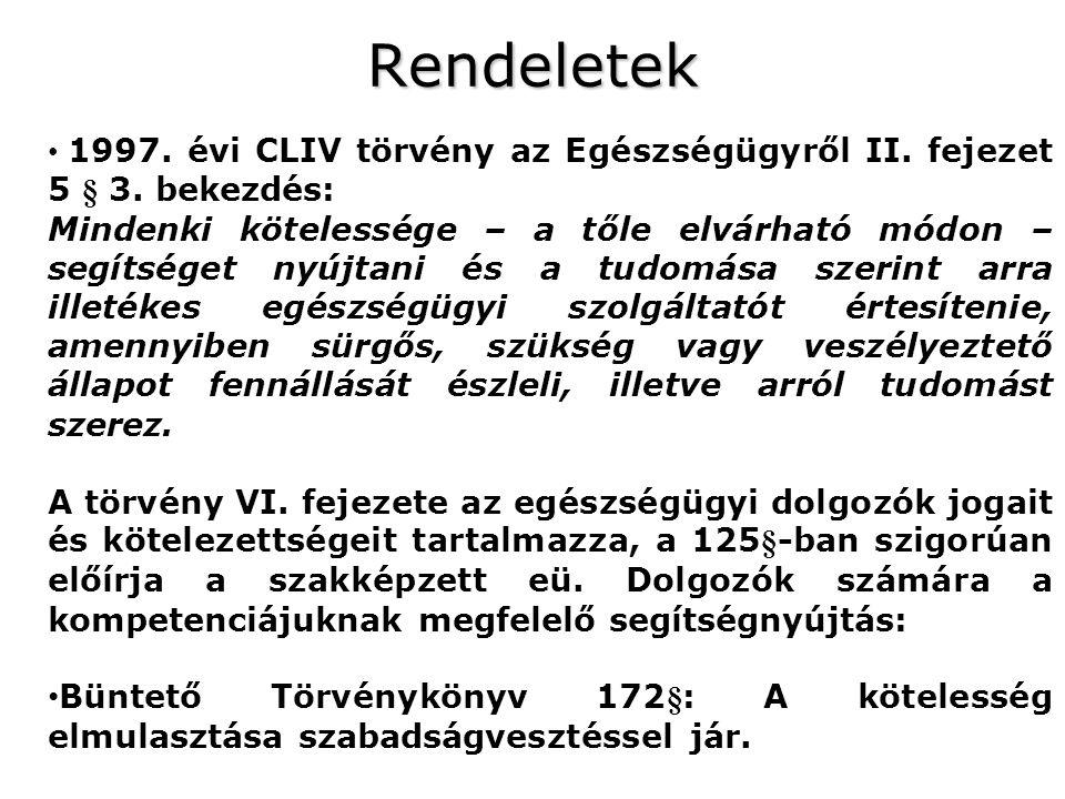 Rendeletek 1997. évi CLIV törvény az Egészségügyről II. fejezet 5 § 3. bekezdés: