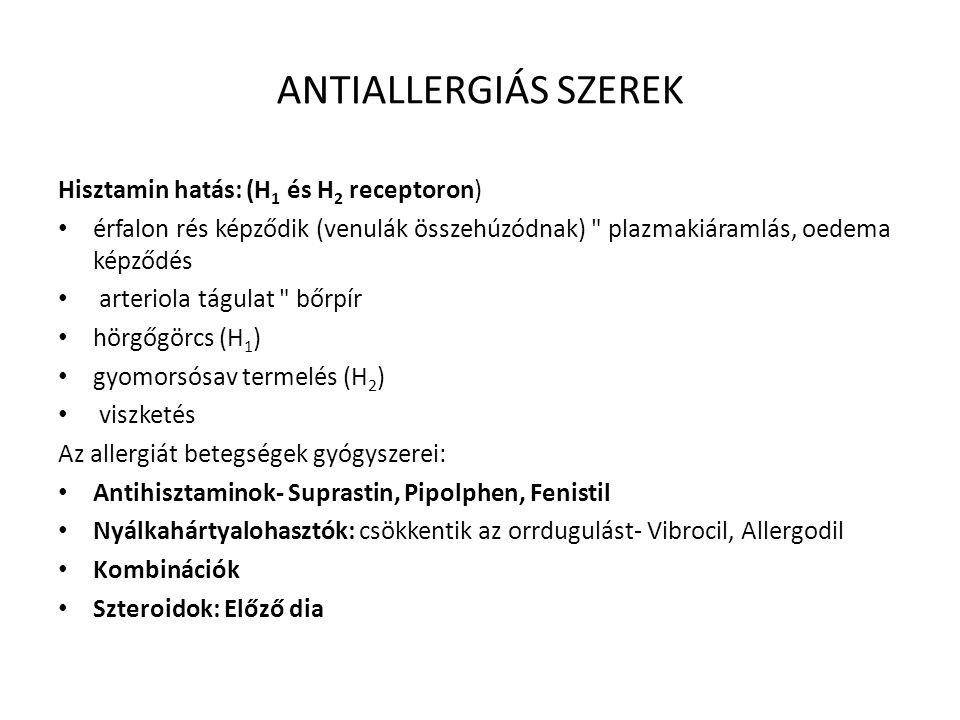 ANTIALLERGIÁS SZEREK Hisztamin hatás: (H1 és H2 receptoron)