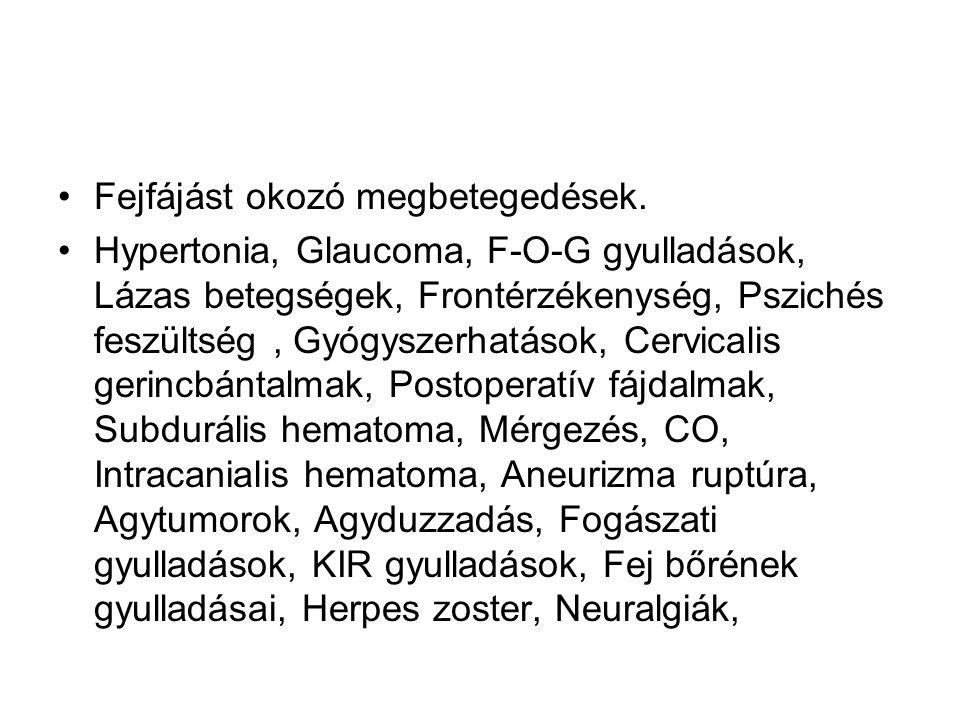 Fejfájást okozó megbetegedések.