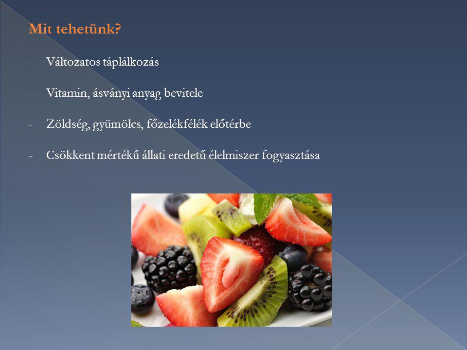 Mit tehetünk Változatos táplálkozás Vitamin, ásványi anyag bevitele