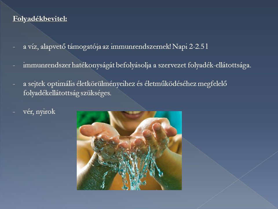Folyadékbevitel: a víz, alapvető támogatója az immunrendszernek! Napi 2-2.5 l.