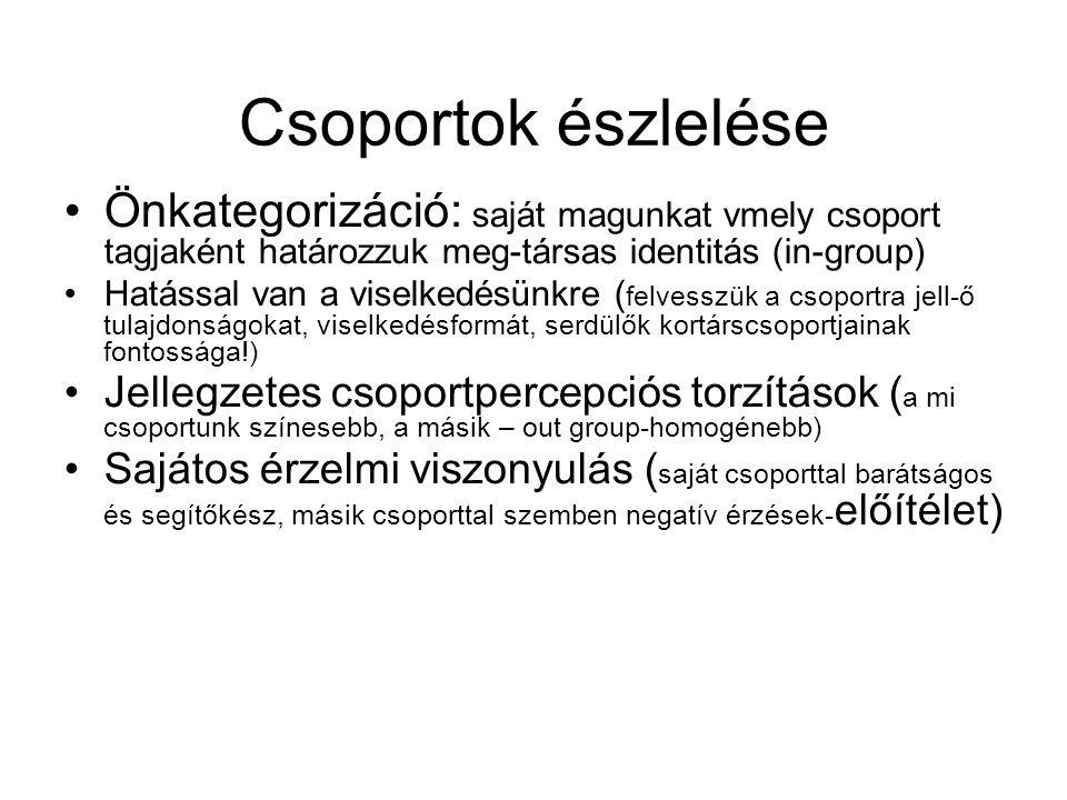 Csoportok észlelése Önkategorizáció: saját magunkat vmely csoport tagjaként határozzuk meg-társas identitás (in-group)