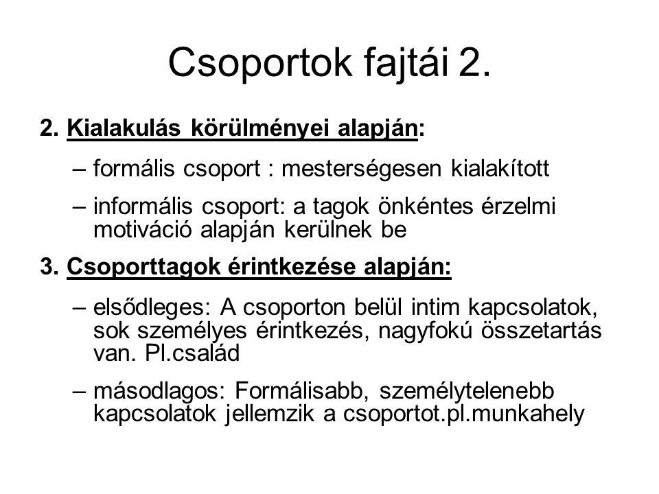 Csoportok fajtái 2. 2. Kialakulás körülményei alapján: