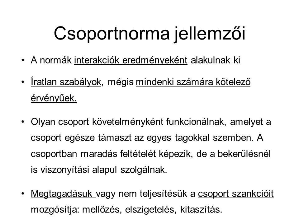 Csoportnorma jellemzői