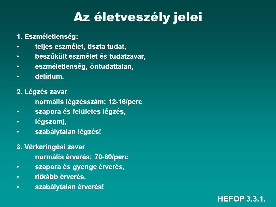 Az életveszély jelei HEFOP 3.3.1. 1. Eszméletlenség: