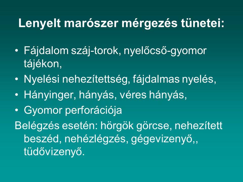 Lenyelt marószer mérgezés tünetei: