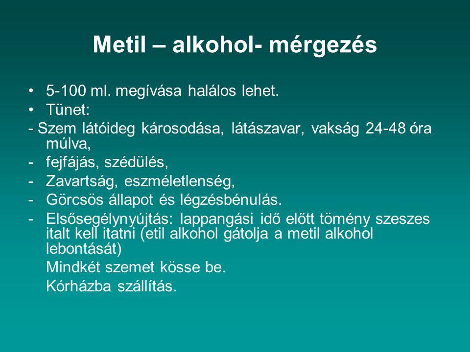 Metil – alkohol- mérgezés