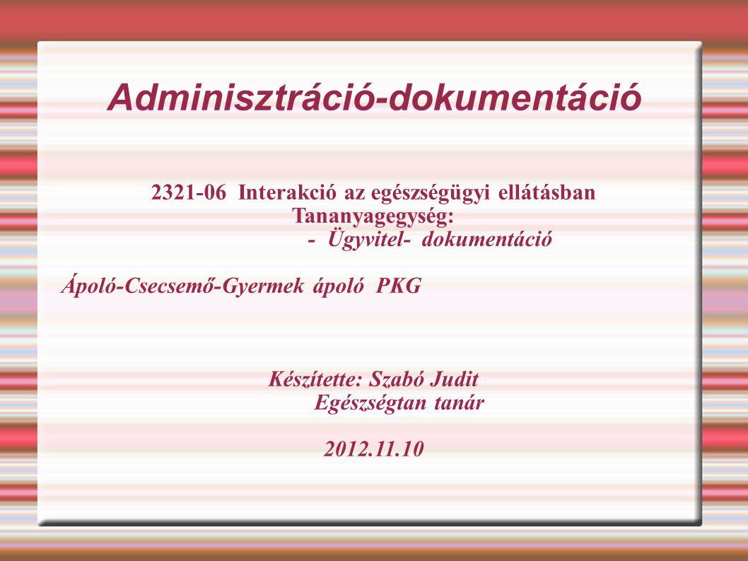 Adminisztráció-dokumentáció