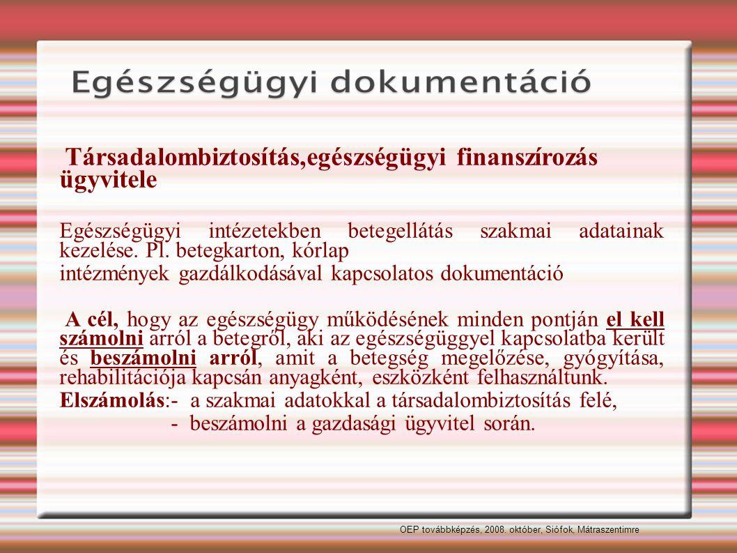 Társadalombiztosítás,egészségügyi finanszírozás ügyvitele