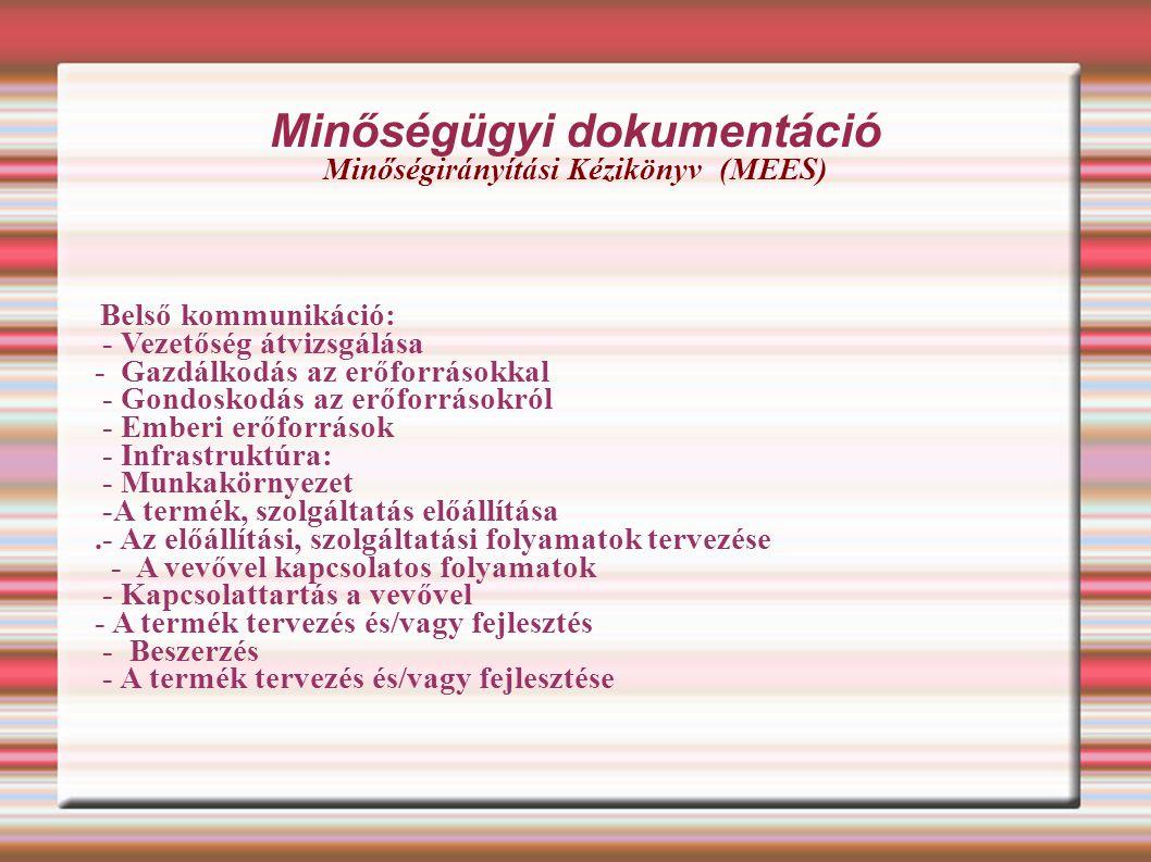 Minőségügyi dokumentáció Minőségirányítási Kézikönyv (MEES)