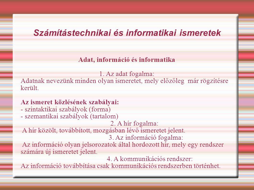 Számítástechnikai és informatikai ismeretek