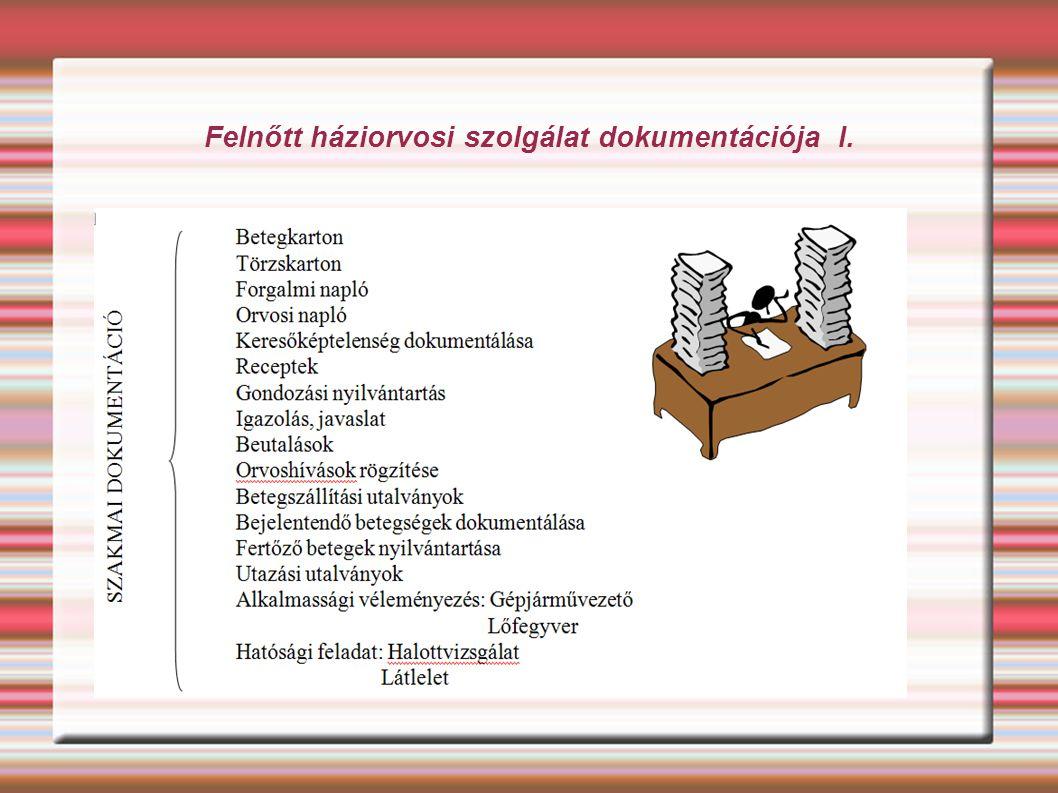 Felnőtt háziorvosi szolgálat dokumentációja I.