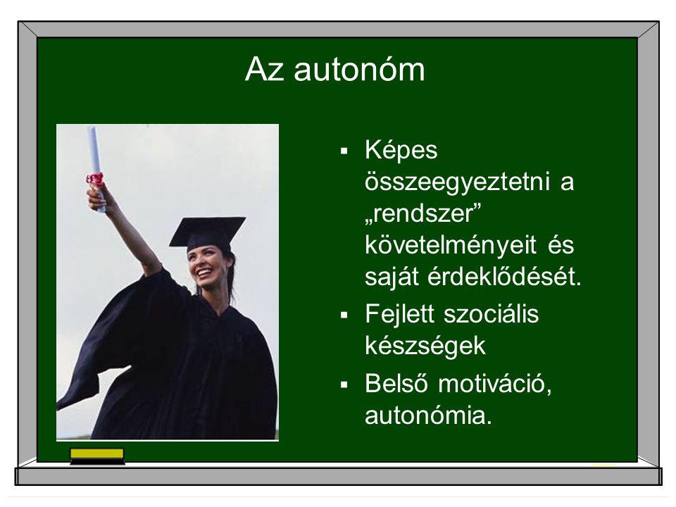 """Az autonóm Képes összeegyeztetni a """"rendszer követelményeit és saját érdeklődését. Fejlett szociális készségek."""