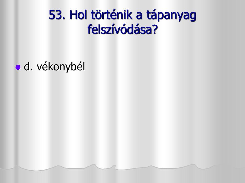 53. Hol történik a tápanyag felszívódása