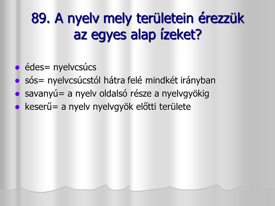 89. A nyelv mely területein érezzük az egyes alap ízeket