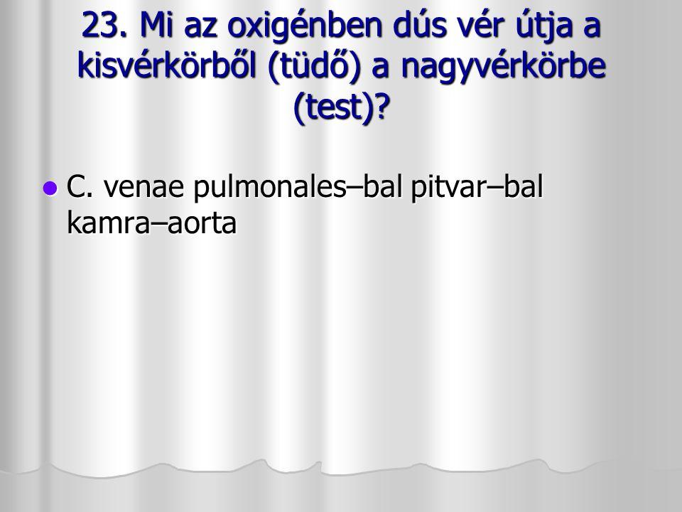23. Mi az oxigénben dús vér útja a kisvérkörből (tüdő) a nagyvérkörbe (test)