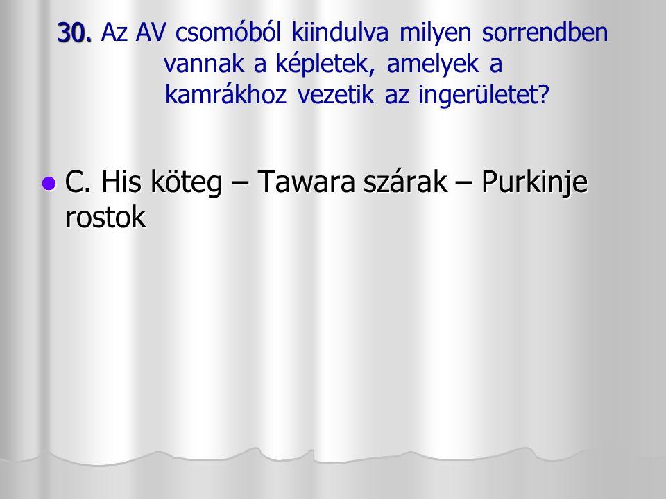 C. His köteg – Tawara szárak – Purkinje rostok