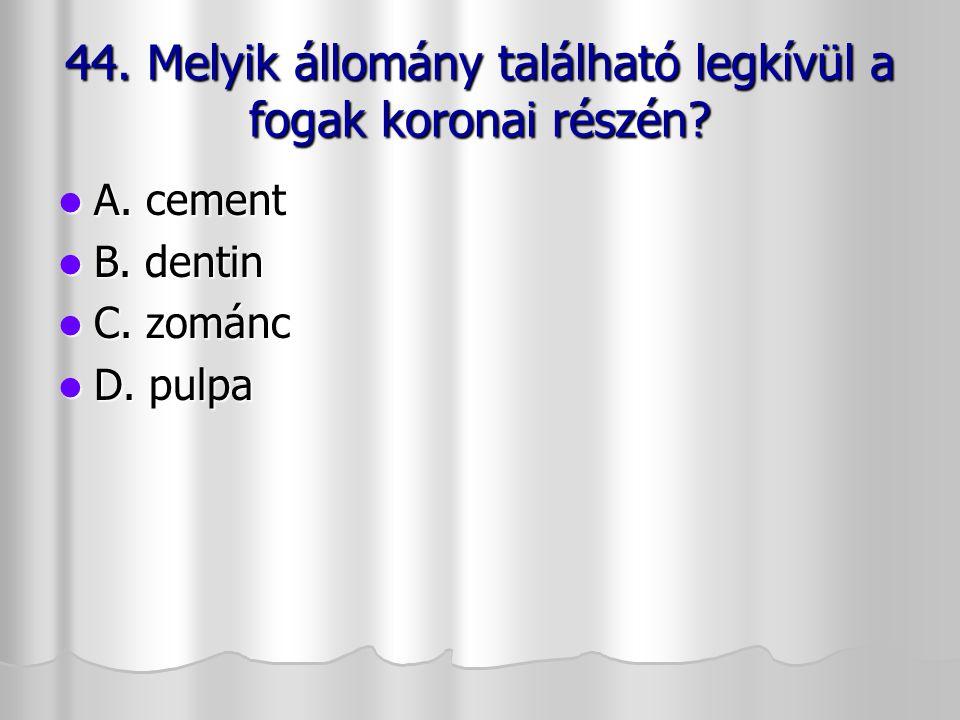 44. Melyik állomány található legkívül a fogak koronai részén
