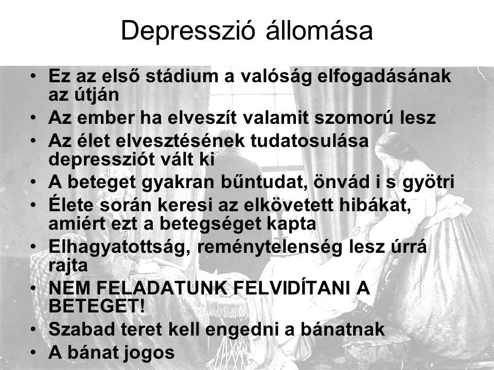 Depresszió állomása Ez az első stádium a valóság elfogadásának az útján. Az ember ha elveszít valamit szomorú lesz.
