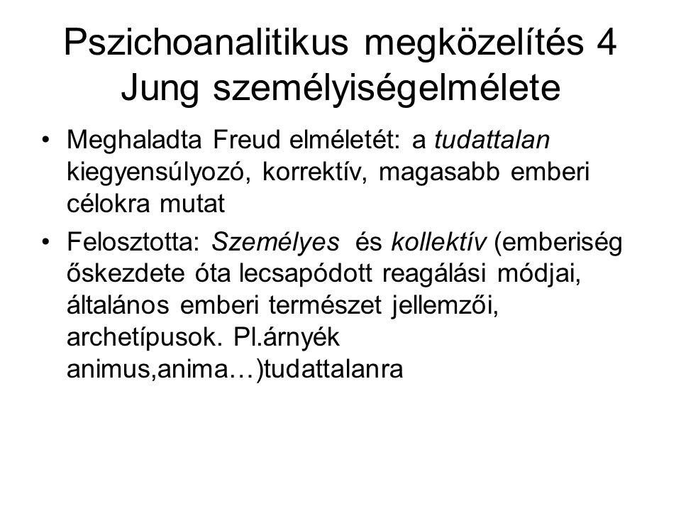 Pszichoanalitikus megközelítés 4 Jung személyiségelmélete