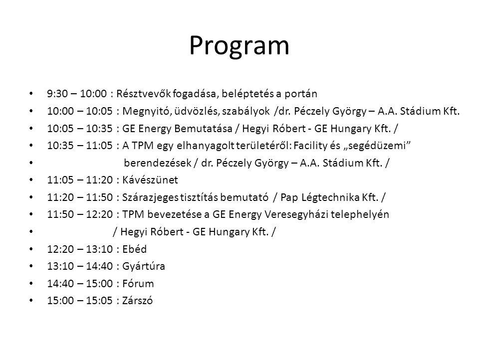Program 9:30 – 10:00 : Résztvevők fogadása, beléptetés a portán
