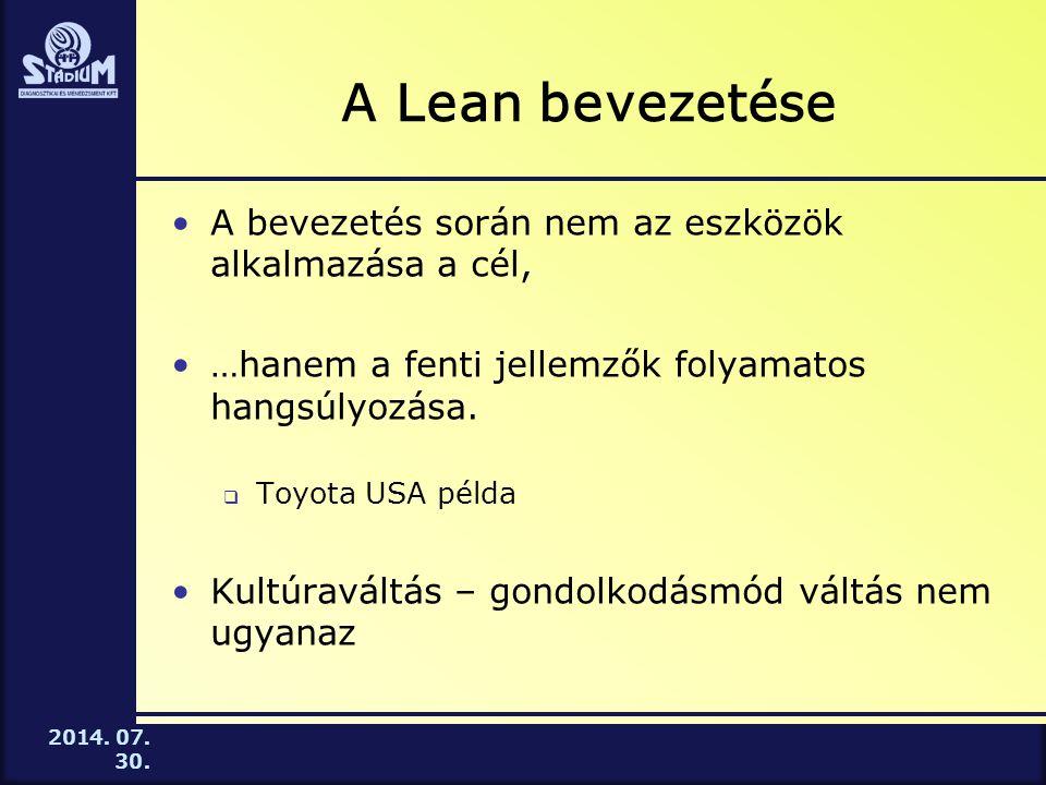 A Lean bevezetése A bevezetés során nem az eszközök alkalmazása a cél,