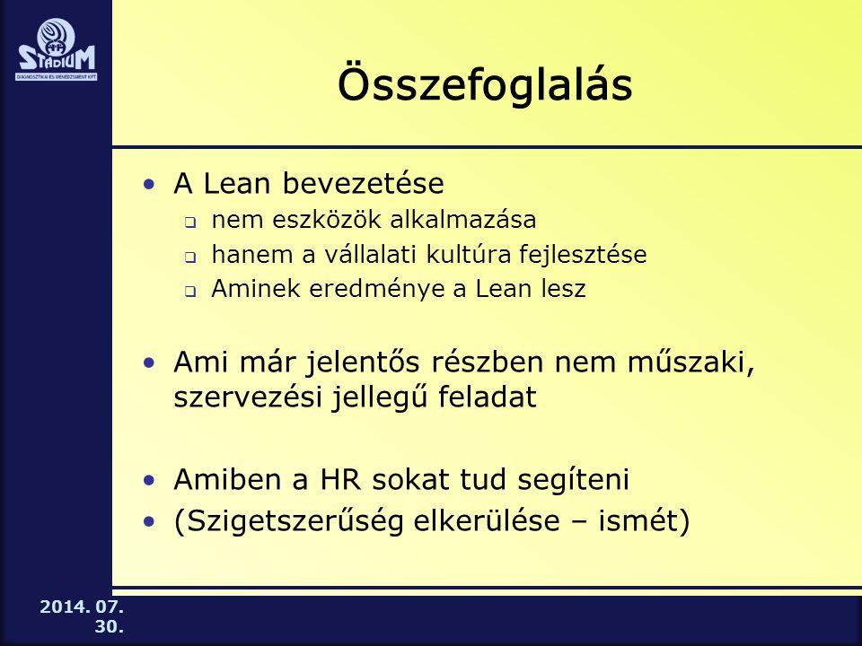 Összefoglalás A Lean bevezetése