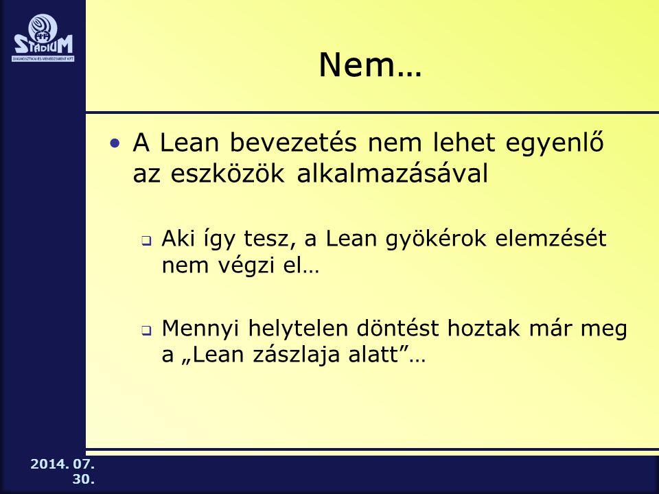 Nem… A Lean bevezetés nem lehet egyenlő az eszközök alkalmazásával